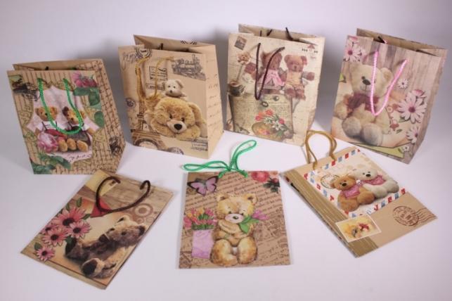 Подарочные пакеты - Сумка Люкс  Крафт Мишки (18*23*10)  (20 шт/уп) - Код 423L
