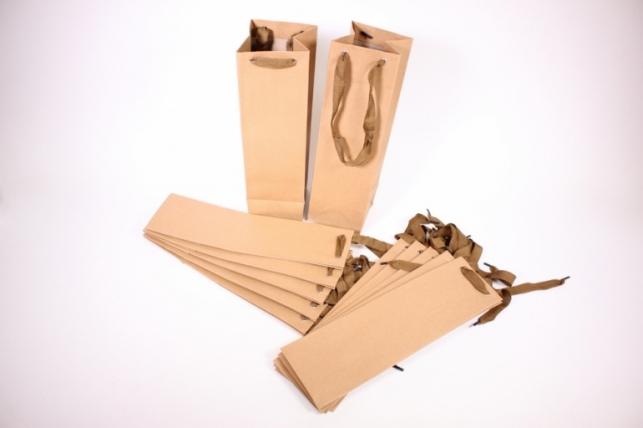 Подарочные пакеты - Сумка Люкс КРАФТ (Под бутылку) 10x36x10см  (12 шт/уп) 36L