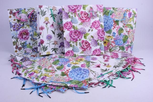 Подарочные пакеты - Сумка Люкс матовая Цветы (26*32*10) 5видов  (20шт в уп)  1012А  Цена за1шт