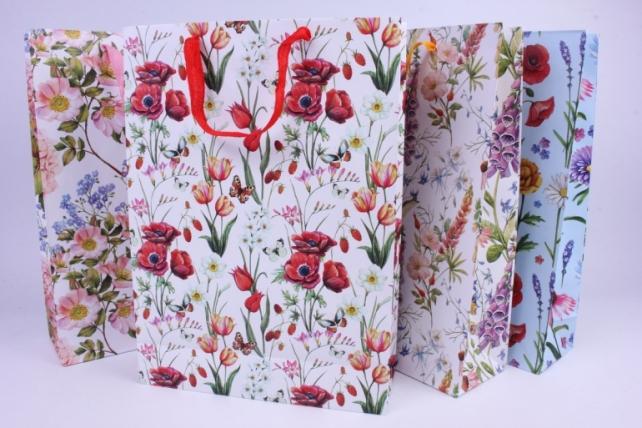 Подарочные пакеты - Сумка  Люкс матовая Цветы (32*45*10)  (20 шт/уп)  А1010 Цена за 1шт