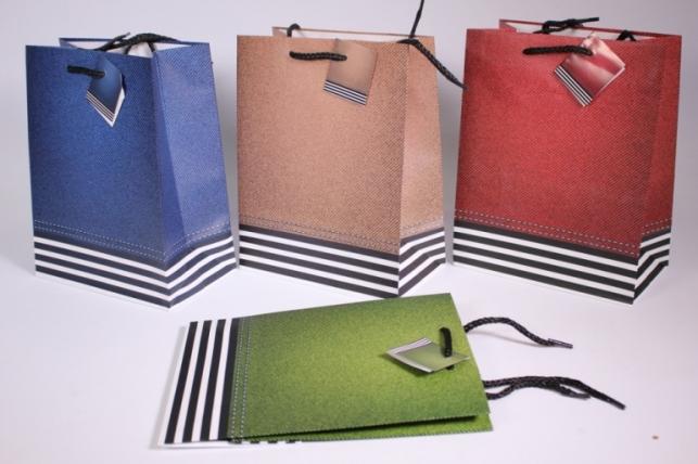 Подарочные пакеты - сумка Люкс матовая с золотом 18х22х9 (20шт в уп) - Код 1092М