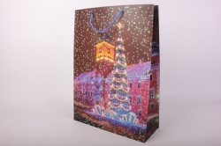 Подарочные пакеты - Сумка Люкс  Новый Год Ёлка с подарками (39*52*15)  (12шт/уп) N5  Цена за 1шт
