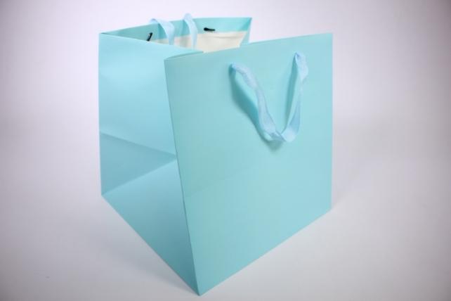 Подарочные пакеты -СумкаЛюкс- однотонннаяГолубаяКУБИК(30*30*29)(12шт/уп)71L