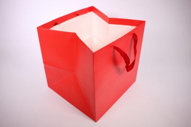 Подарочные пакеты -СумкаЛюкс- однотонннаяКраснаяКУБИК(30*30*29)(12шт/уп)71L