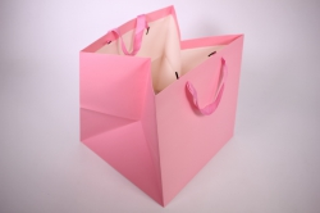 Подарочные пакеты -СумкаЛюкс- однотонннаяРозоваяКУБИК(30*30*29)(12шт/уп)71L