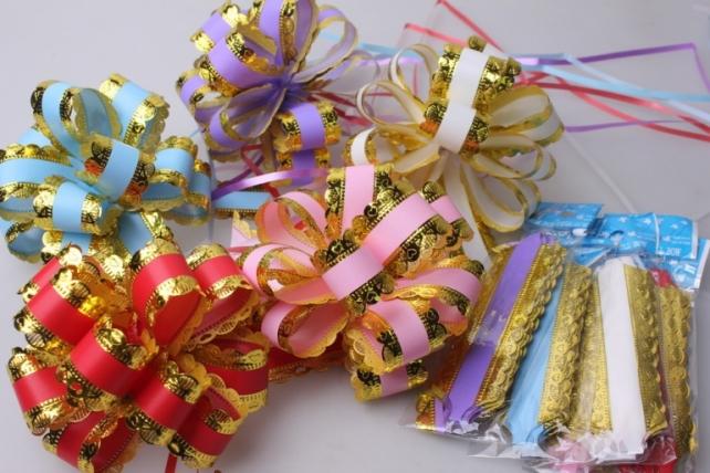 банты праздничные подарочный декоративный праздничный - бант-шар 3см  ажур с золотом  (10 шт.) 1810