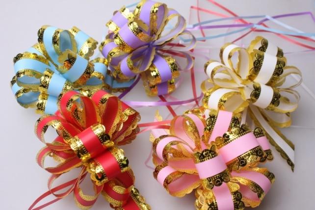 Подарочный Бант из ленты ажур с золотом 3см (10 шт. в упаковке)