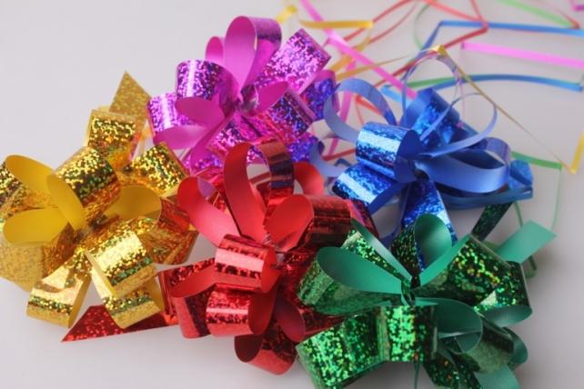 банты праздничные подарочный декоративный праздничный - бант-шар 2см  голографический  (10 шт.) 1809