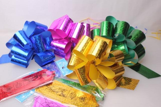 Подарочный Бант из ленты голография 5см (10 шт. в упаковке)