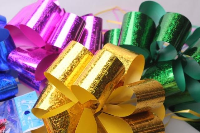 банты праздничные подарочный декоративный праздничный - бант-шар 5см  голография (10 шт.) 1713