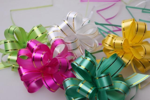 банты праздничные подарочный декоративный праздничный - бант-шар 2см  зол. пол. (10 шт.) 528