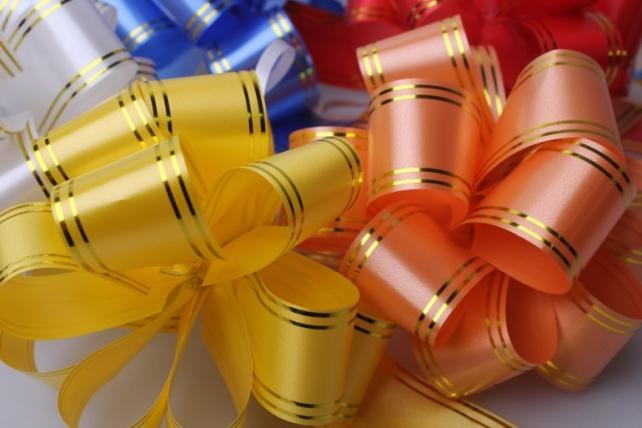банты праздничные подарочный декоративный праздничный - бант-шар 3см с зол. пол. (10 шт.) 531