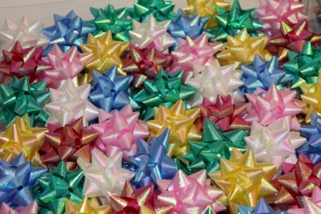 +++ новый год +++ подарочный декоративный праздничный - бант звезда №2 d=4см  (100шт.) 1653