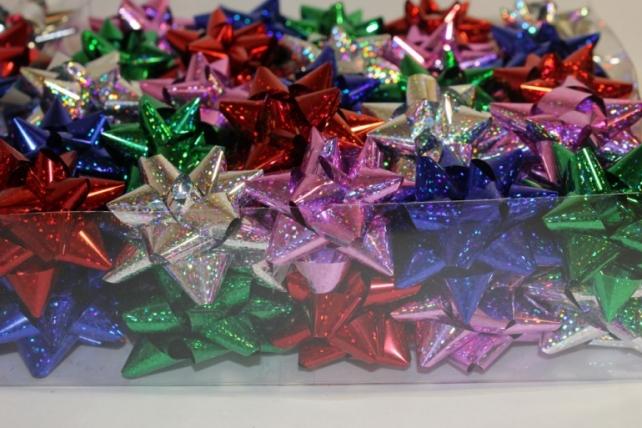 +++ новый год +++ подарочный декоративный праздничный - бант звезда №3 d=6см  (50шт.) 1654