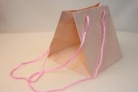 Подарочный пакет  (пластиковый пакет) для горшечных (18х18х18см) - Персиковый