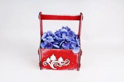 Подарочный ящик с вензелями и ёлками  окрашен., Красный-белый ПУ561-02-0603
