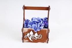 Подарочный ящик с вензелями и ёлками окрашен., Мокко-белый ПУ561-02-3403