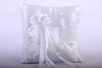 Подушка под кольца в пакете - белая с лентой 13х16см