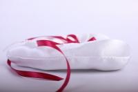 Подушка под кольца в пакете - Сердце с бордовой лентой 13х16см