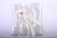 Подушка под кольца в пакете -шампань с атласной лентой 13х16см