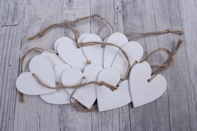 Подвеска Сердца  белые из дерева (10шт в уп)  YF15-1562   4476