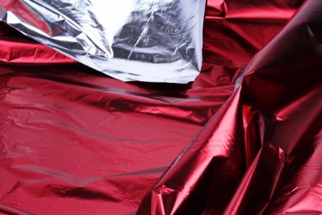 Полисилк металл в рулоне (1м*50м) Бордовый/Серебро