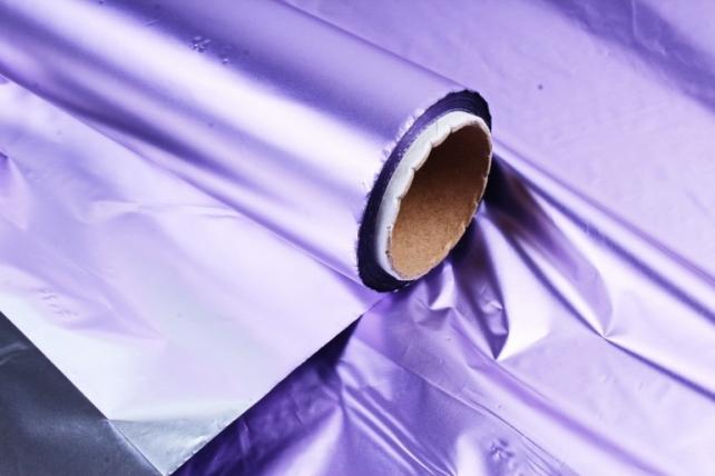Полисилк металл в рулоне (1м*50м) Сиреневый/Серебро