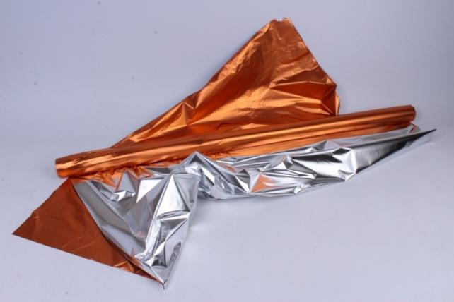 Полисилк металл в рулоне (1м*50м) Оранжевый/Серебро