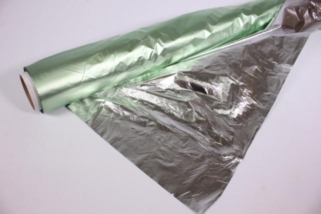 Полисилк металл в рулоне (1м*50м) Салатовый/Серебро