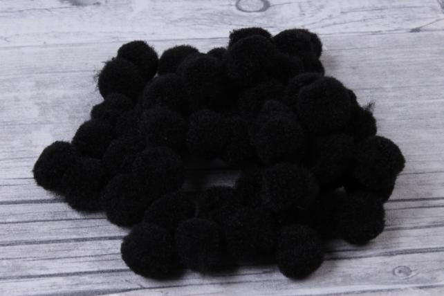 Помпоны декор. 1,5см  Черные  (1000шт в уп)  9085