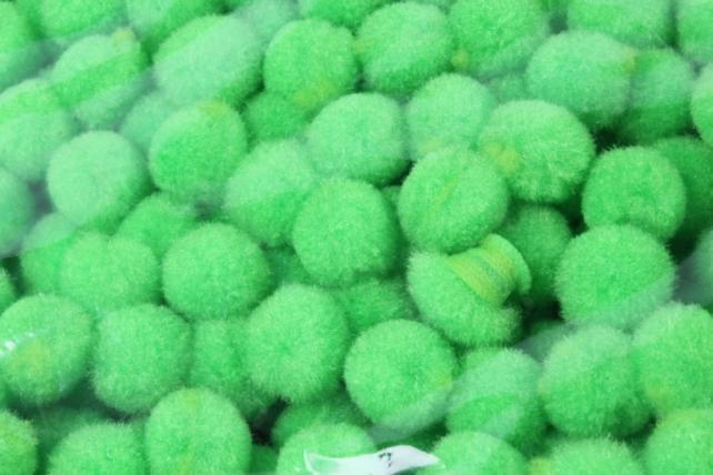 Помпоны декор. 1,5см  Зеленое яблоко  (1000шт в уп)  6421