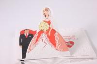"""Приглашение на свадьбу """"Жених и Невеста в сердце"""" с блестками (10 шт в упаковке), 098.574"""