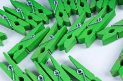 Прищепка 3,5см зеленая без декора (24шт в уп)  D7J0080  6822