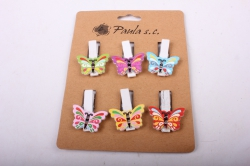 Прищепка  Бабочки цветные  (6шт в уп)  6631   D7J0061