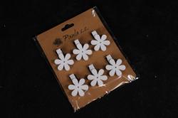 Прищепка  Цветы белые  (6шт в уп)