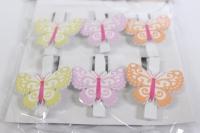 Прищепка Декоративная - Бабочки (6шт. в уп.) - Код 3684
