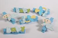 Прищепка Декоративная - Бэби голубые (6шт. в уп.) - Код 3677
