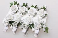 Прищепка  Роза белая 4,5см  (8шт в уп) 3639