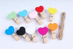 Прищепка с Сердцем цветные микс 3,5см  (10шт в уп)  DY104  3720