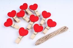 Прищепка с Сердцем красные 3,5см  (10шт в уп)  DY105  3737