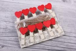 Прищепка  с сердцем со шнуром  (10шт в уп) D7J0020 3,5cm