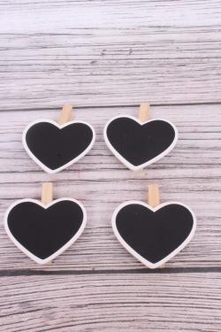 Прищепка с табличкой 7х7,5 см Сердце (4 шт/уп)  8DY5770
