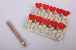 Прищепка  Сердца красные  (10шт в уп)  3782  DY110