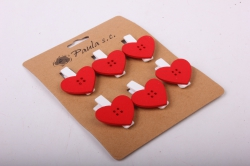 Прищепка  Сердца красные  (6шт в уп)  6655   D7J0063