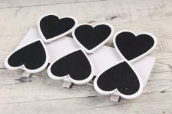 Прищепка сердце с белым ободком по 6 шт  HT16A136
