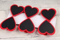 Прищепка сердце с красным ободком по 6 шт  HT16A136