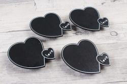 Прищепка табличка сердце 6х5см   (4шт в уп) 9DY7006 9851