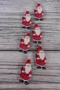 Прищепки с Дед Морозом 2,5х5,5см по 6шт  9DY5508
