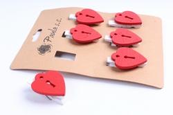 Прищепки с красным сердцем  (6 шт в уп) D7J0031