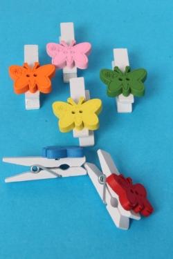Прищепки с  бабочкой 3,5*2 см (6 шт в уп) DY45